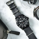 Tudor Black Nato Leather Watch Strap