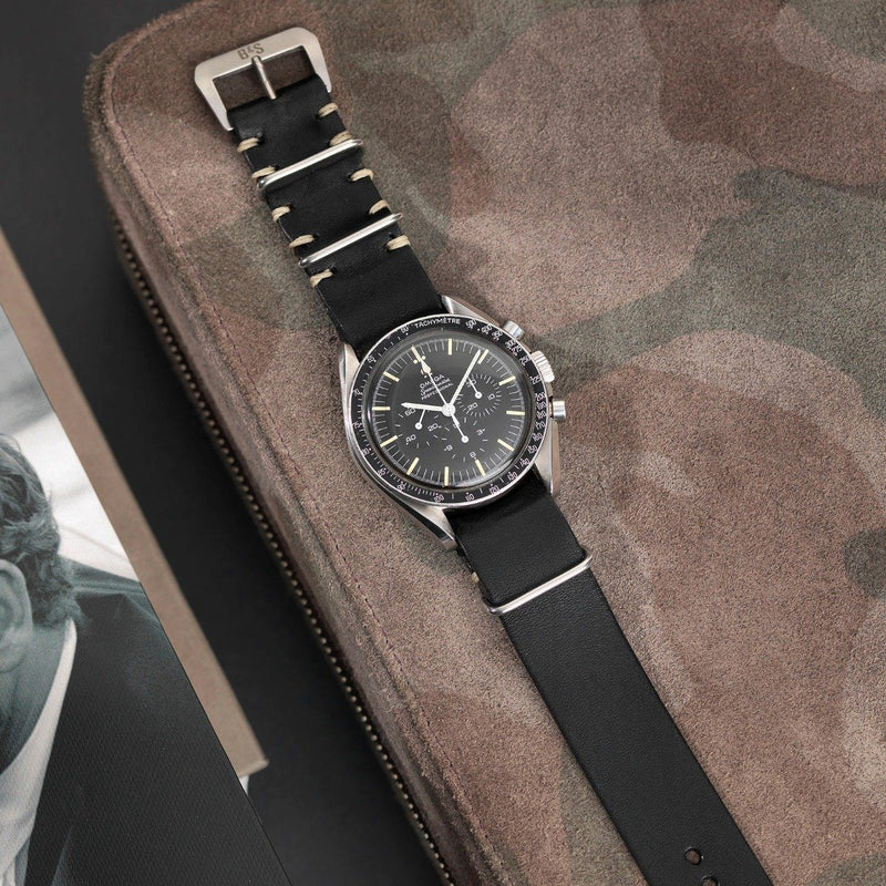 Omega Black Nato Leather Watch Strap