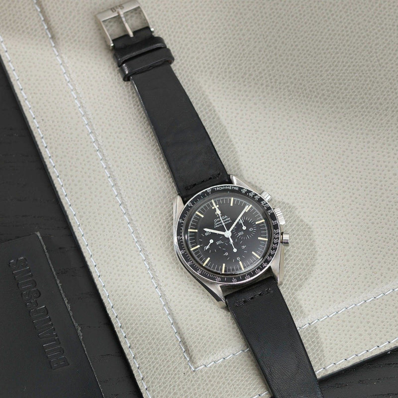 Omega Black Straight Stitch Leather Watch Strap