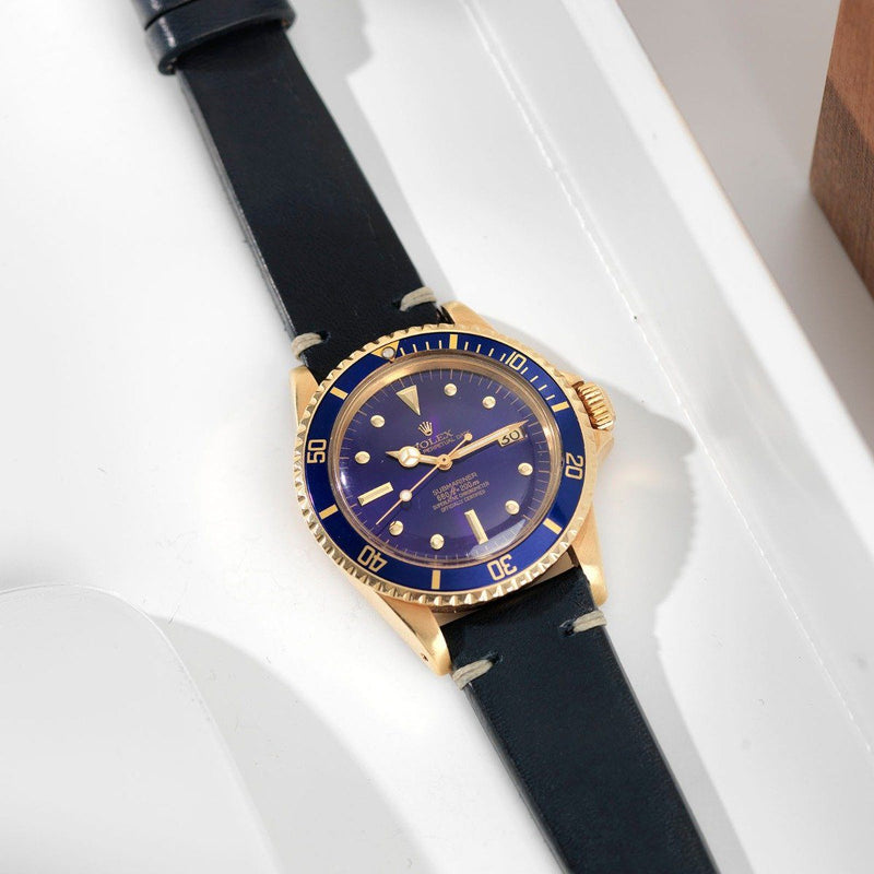 Rolex Blue Ink Leather Watch Strap