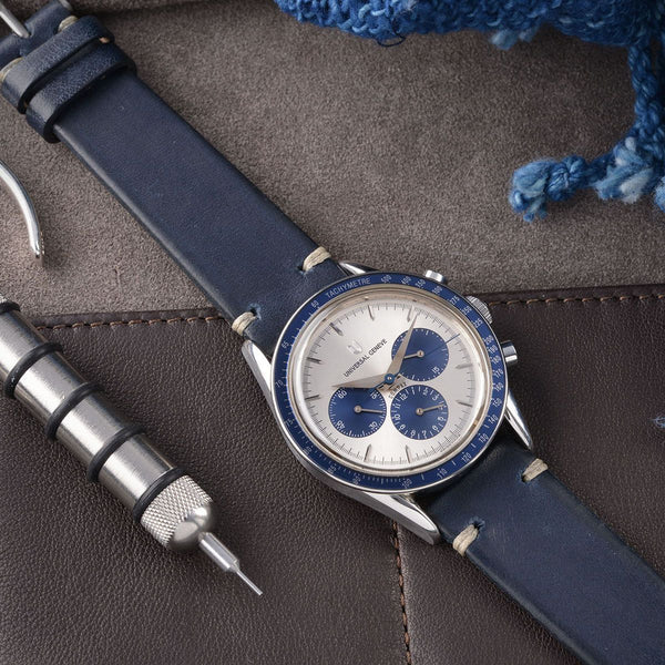 Universal Geneve Blue Ink Leather Watch Strap