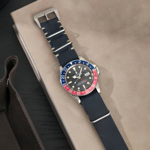Rolex Blue Ink Nato Leather Watch Strap