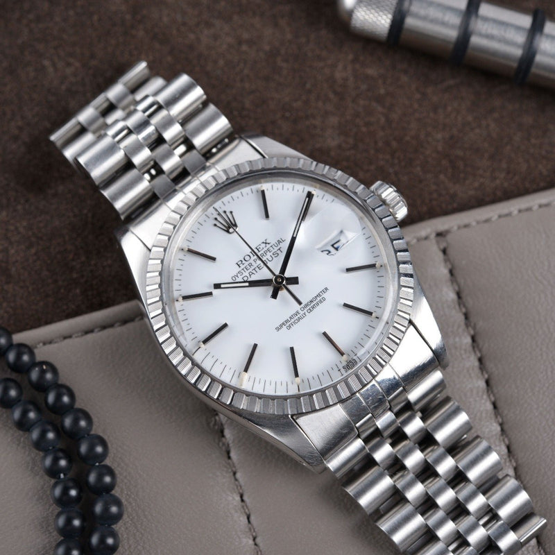 ROLEX 16030 DATEJUST WHITE DIAL BOX & PAPERS
