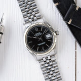 ROLEX 1601 DATEJUST BLACK DOOR STOP DIAL