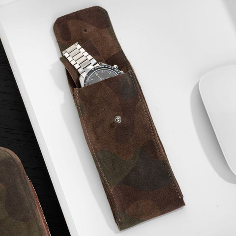 Camo Brown Leather Watch Pouch
