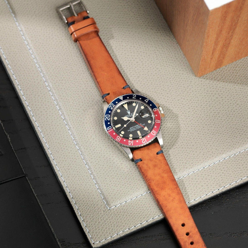 Rolex Caramel Brown Blue Stitch Leather Watch Strap
