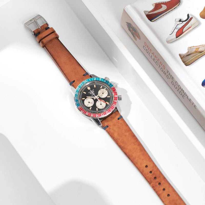 Heuer Caramel Brown Blue Stitch Leather Watch Strap