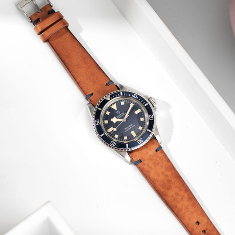 Tudor Caramel Brown Blue Stitch Leather Watch Strap