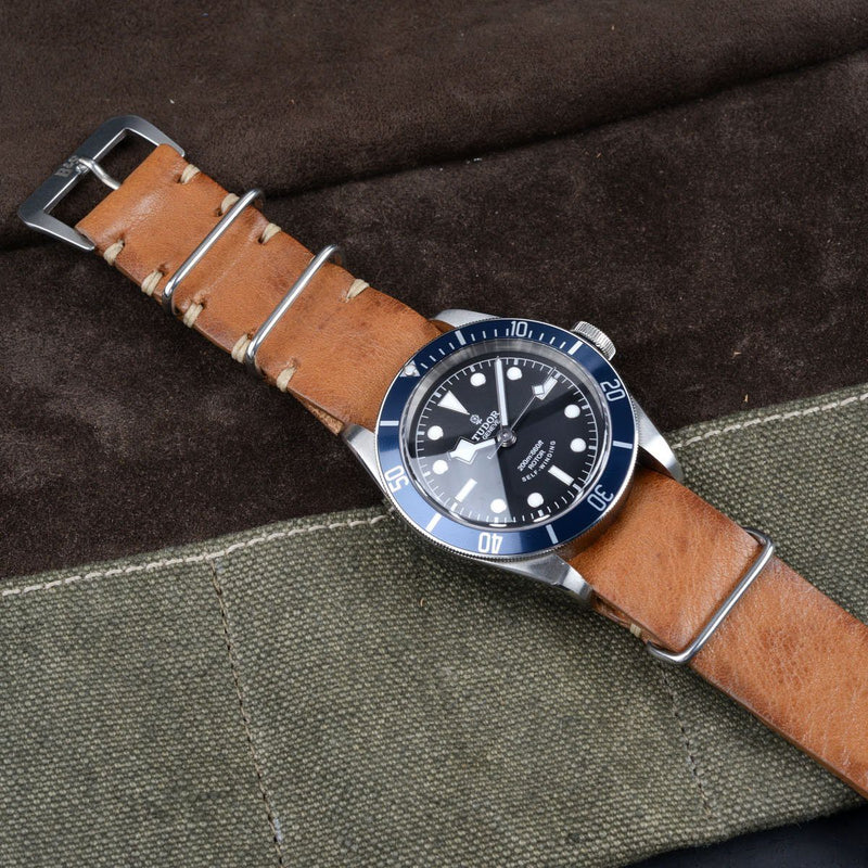 Tudor Caramel Brown Nato Leather Watch Strap