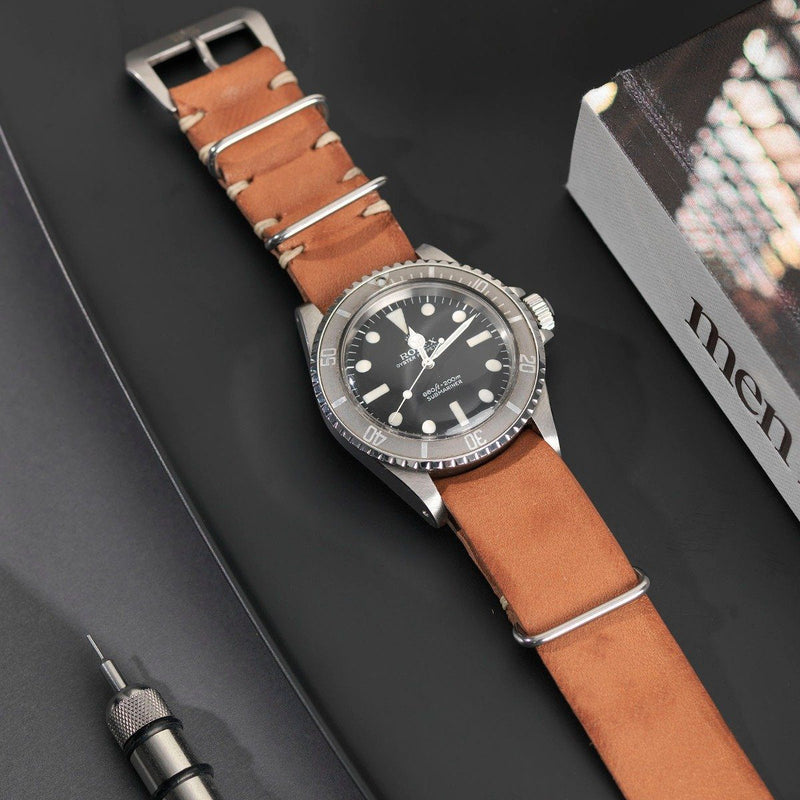 Rolex Caramel Brown Nato Leather Watch Strap