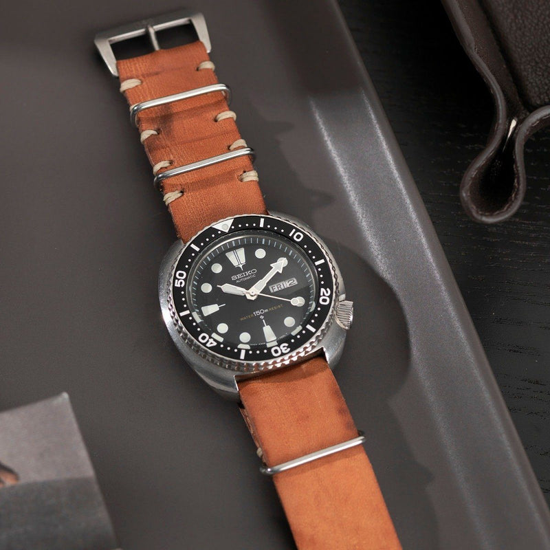 Seiko Caramel Brown Nato Leather Watch Strap