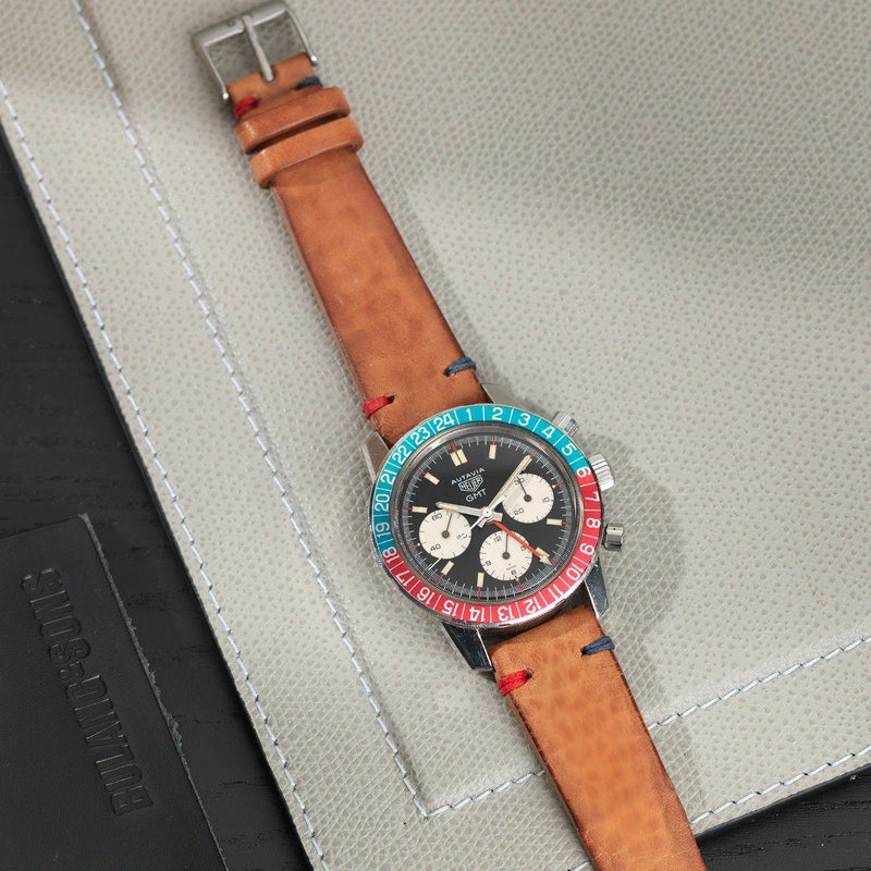 Heuer Caramel Brown Pepsi Stitch Leather Watch Strap