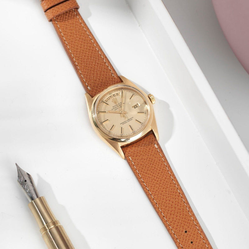 Rolex Cognac Brown Leather Watch Strap