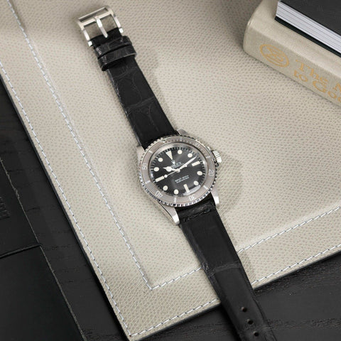 Rolex Croco Black Leather Watch Strap