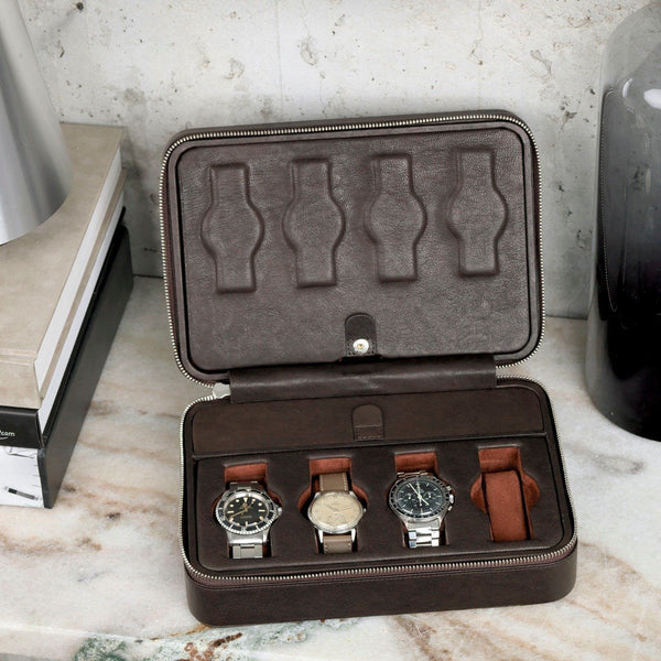 Dark Brown Cognac Luxury Leather Watch Box