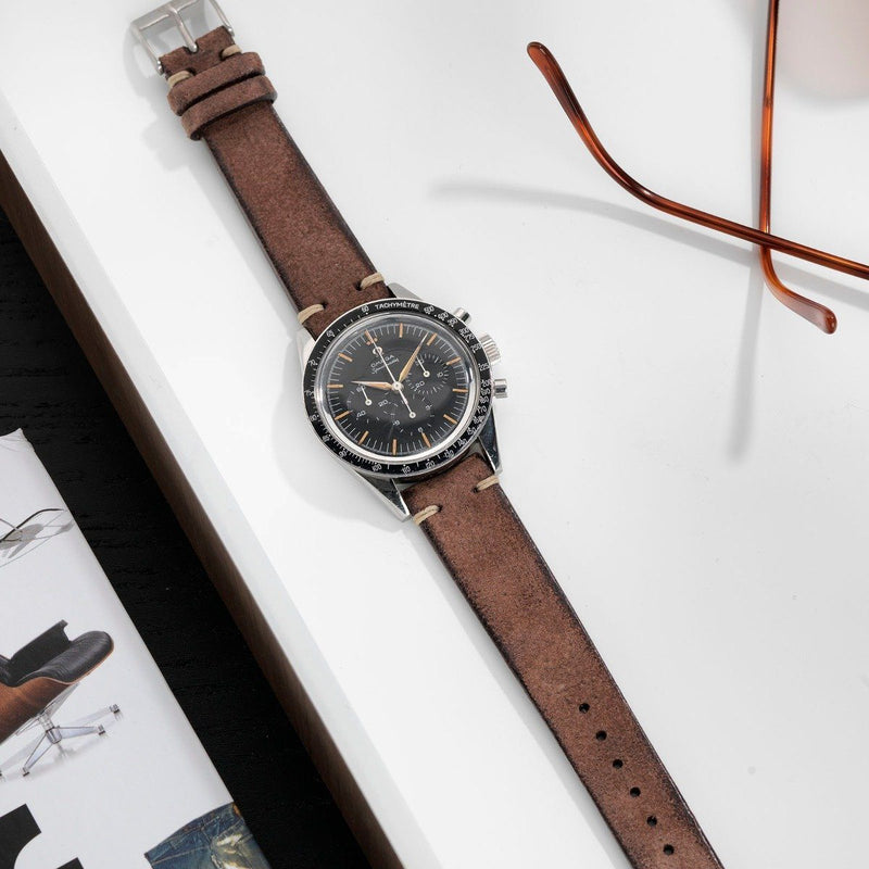 Omega Dark Brown Rugged Leather Watch Strap