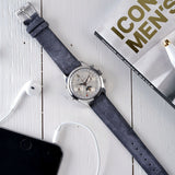 Chronograph. Le Locne Dark Grey Silky Suede Leather Watch Strap