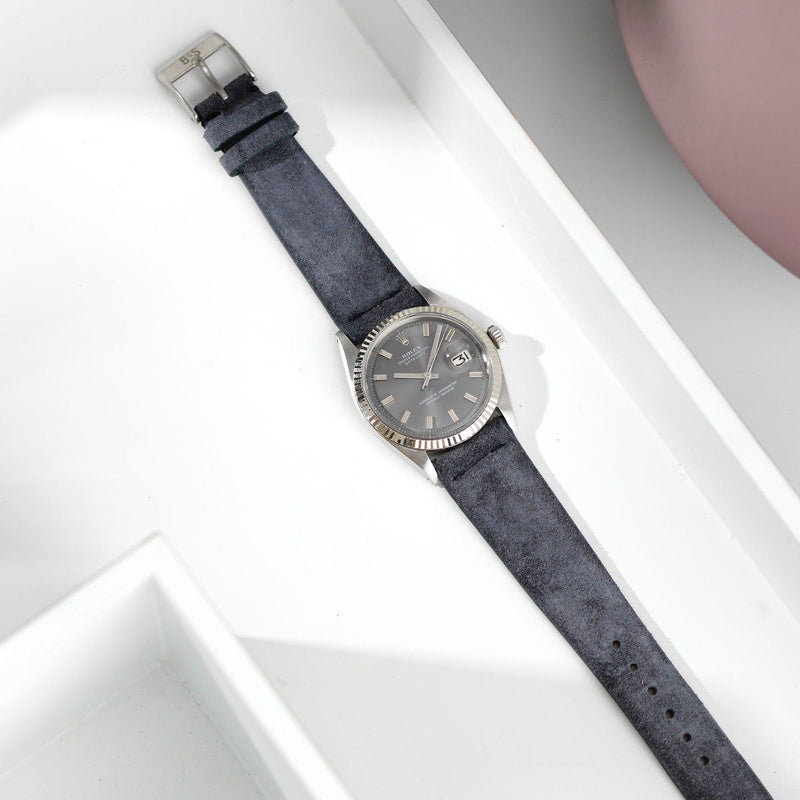 Rolex Dark Grey Silky Suede Leather Watch Strap