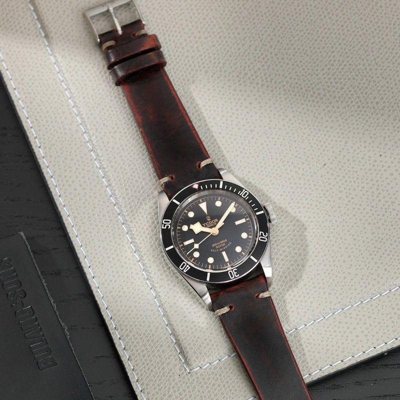 Tudor Diablo Black Leather Watch Strap