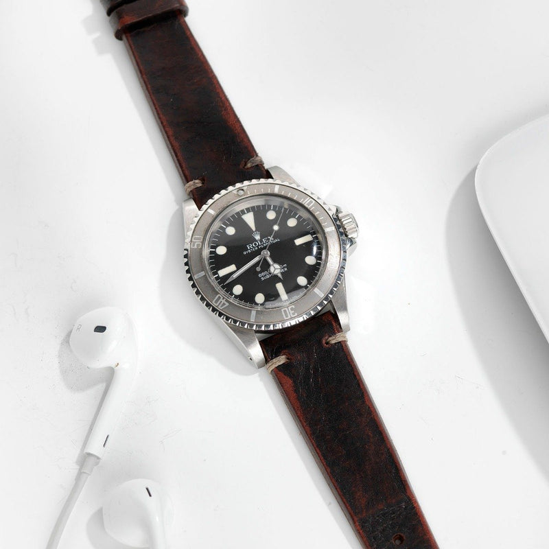 Rolex Diablo Black Leather Watch Strap