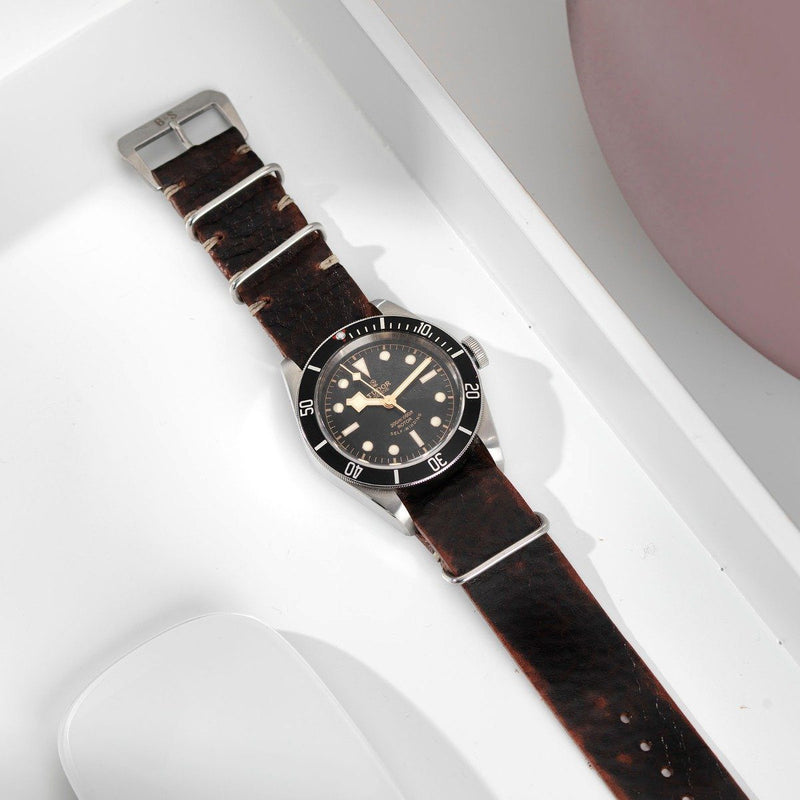 Tudor Diablo Black Nato Leather Watch Strap