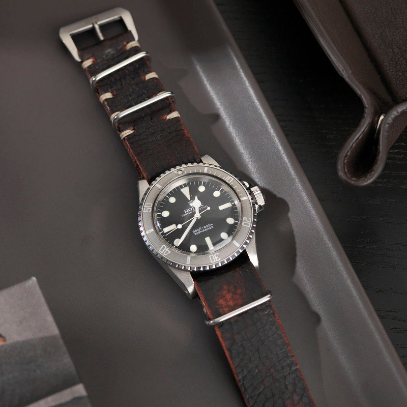 Rolex Diablo Black Nato Leather Watch Strap