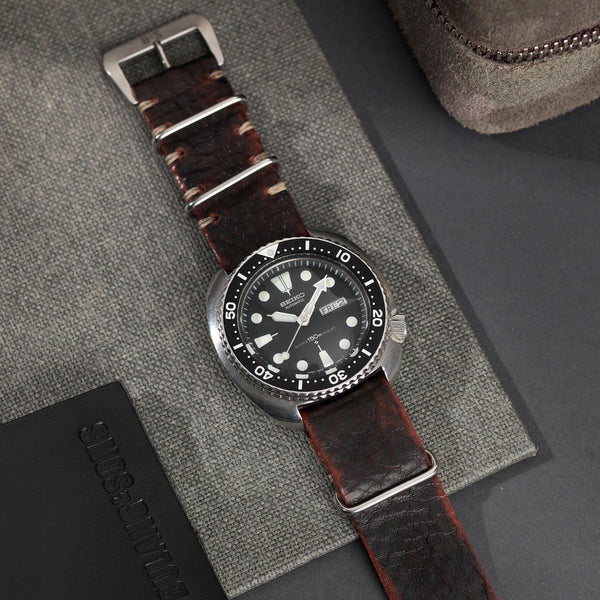 Seiko Diablo Black Nato Leather Watch Strap
