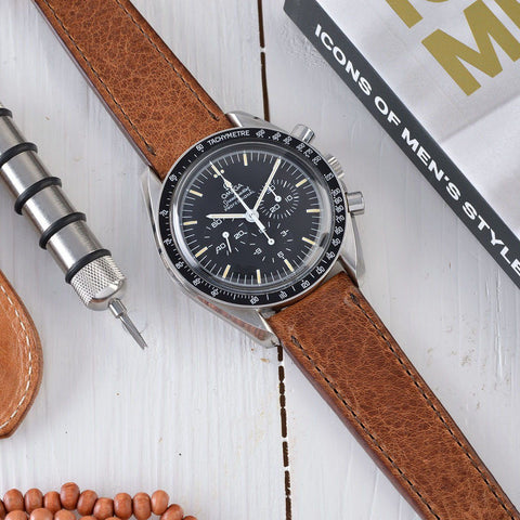 Omega Faccio Brown Edge Stitch Leather Watch Strap