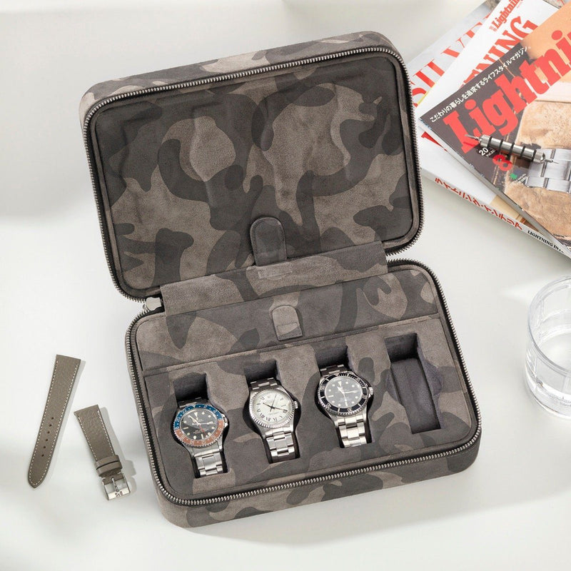 Black Camo Suede Luxury Leather Watch Box