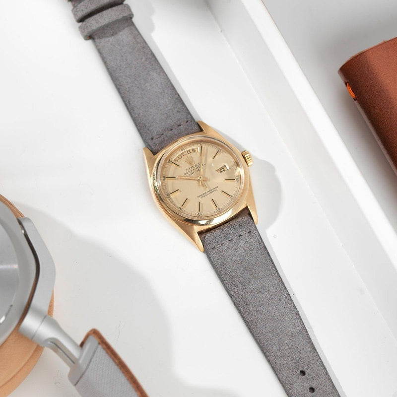 Rolex Grey Silky Suede Leather Watch Strap