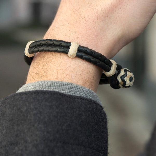 Native Black Rawhide Leather Bracelet