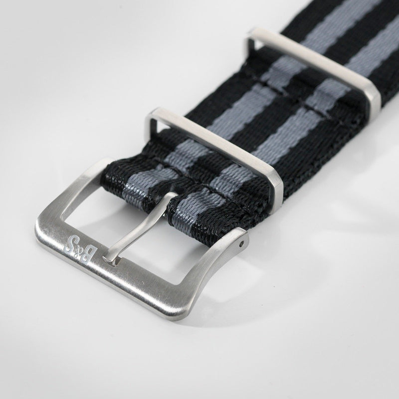 Deluxe Nylon Nato Watch Strap Black Two Stripes Grey