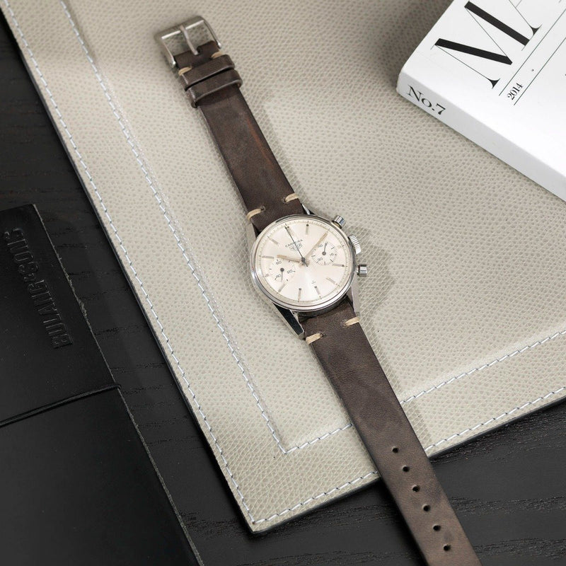 Heuer Piombo Grey Leather Watch Strap