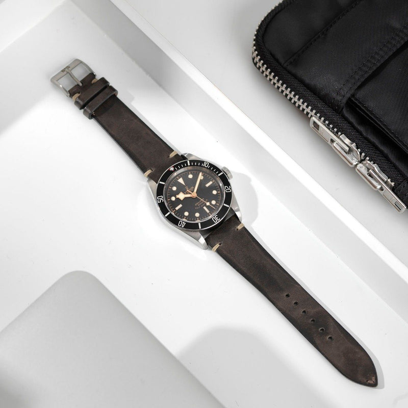 Tudor Piombo Grey Leather Watch Strap
