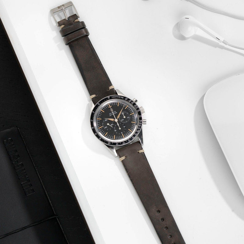 Omega Piombo Grey Leather Watch Strap