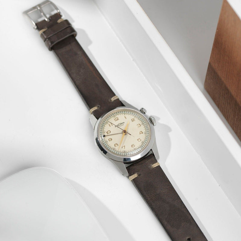 Vulcain Piombo Grey Leather Watch Strap