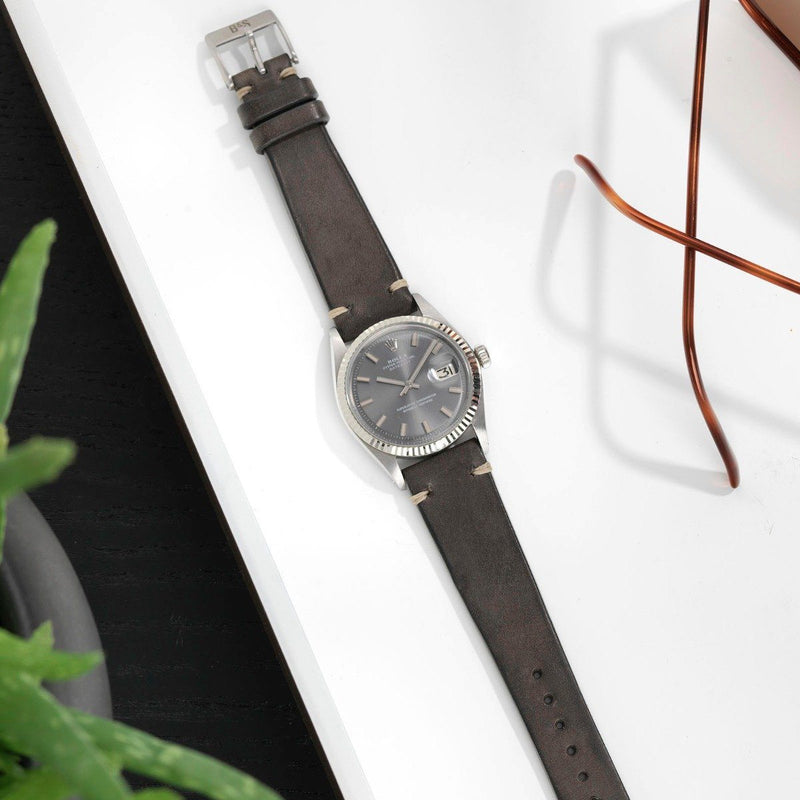 Rolex Piombo Grey Leather Watch Strap