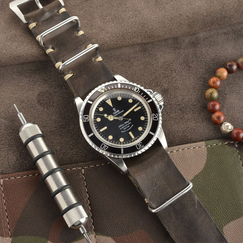 Tudor Piombo Grey Nato Leather Watch Strap