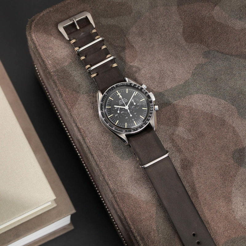 Omega Piombo Grey Nato Leather Watch Strap