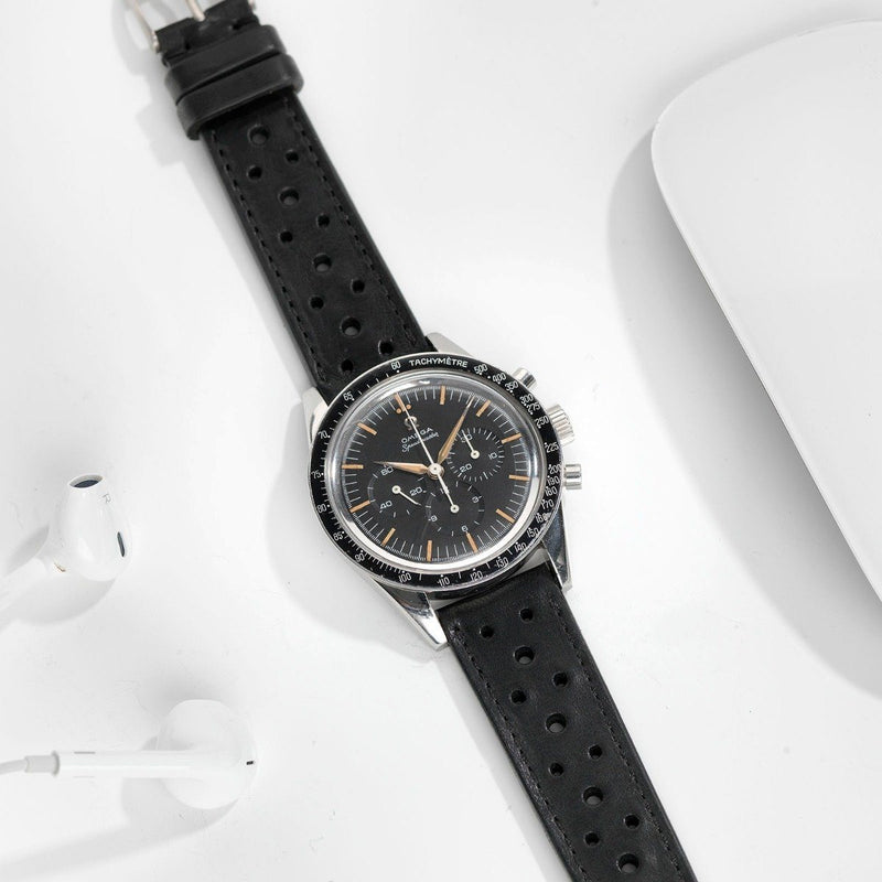 Omega Racing Black Leather Watch Strap