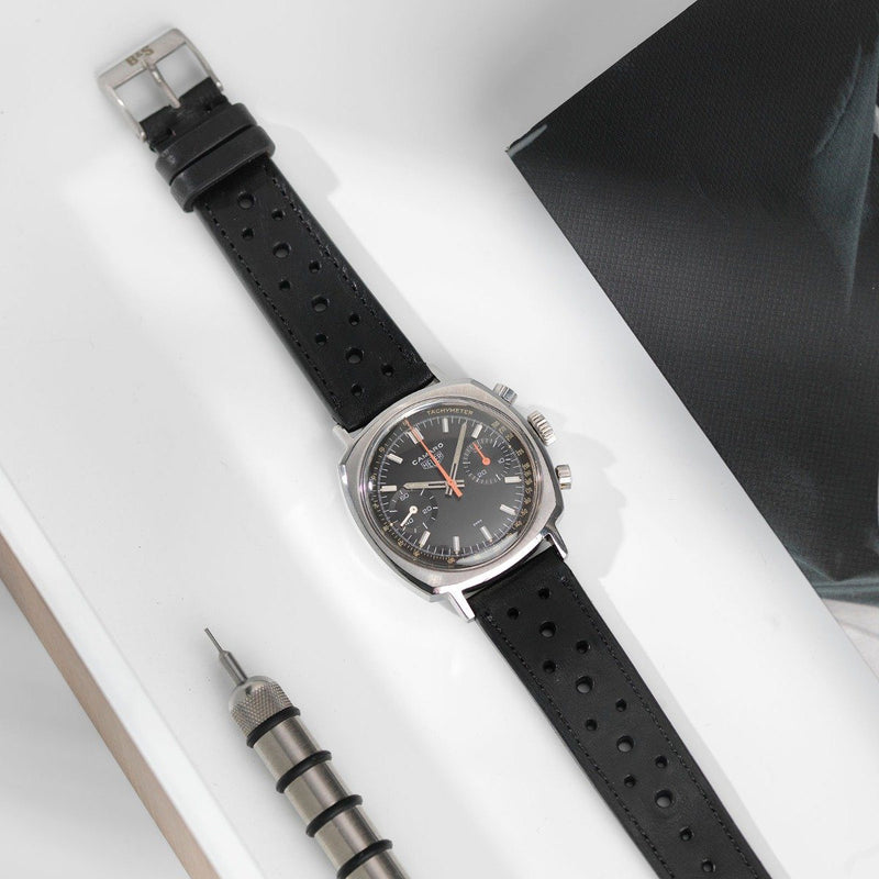 Heuer Racing Black Leather Watch Strap