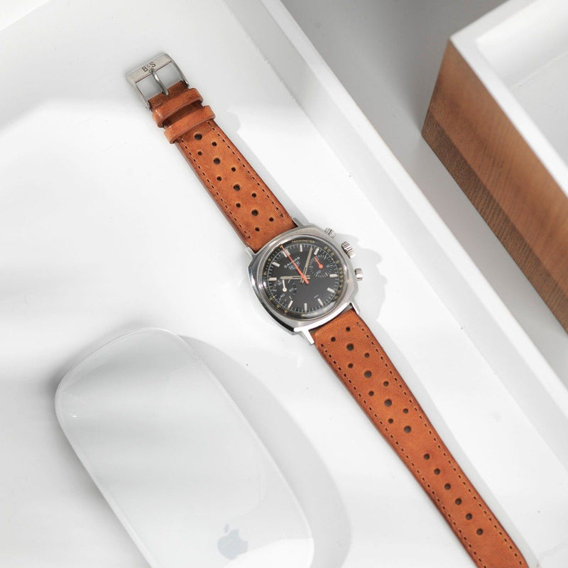 Heuer Racing Caramel Brown Leather Watch Strap