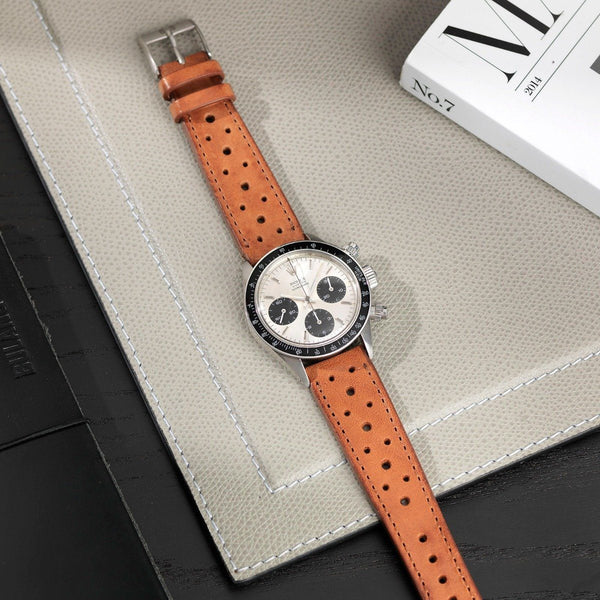Rolex Racing Caramel Brown Leather Watch Strap