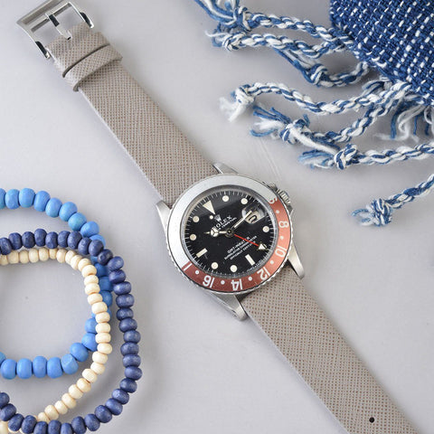 Rolex 1675 GMT Saffiano Grey Leather Watch Strap