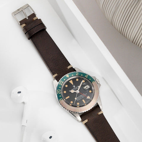 Rolex Seal Dark Brown Leather Watch Strap