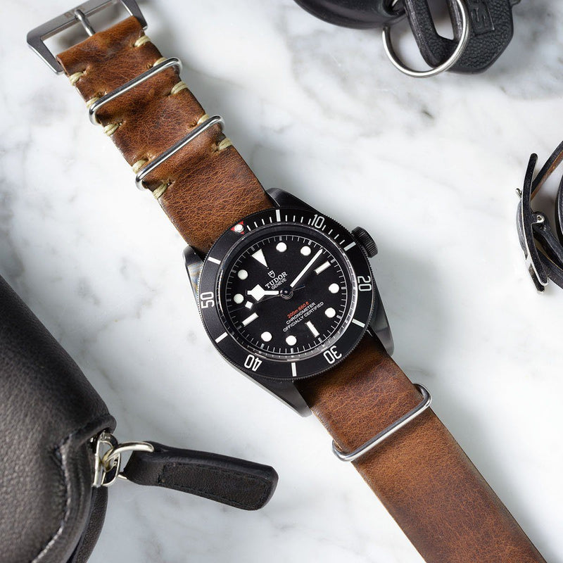 Tudor Siena Brown Nato Leather Watch Strap