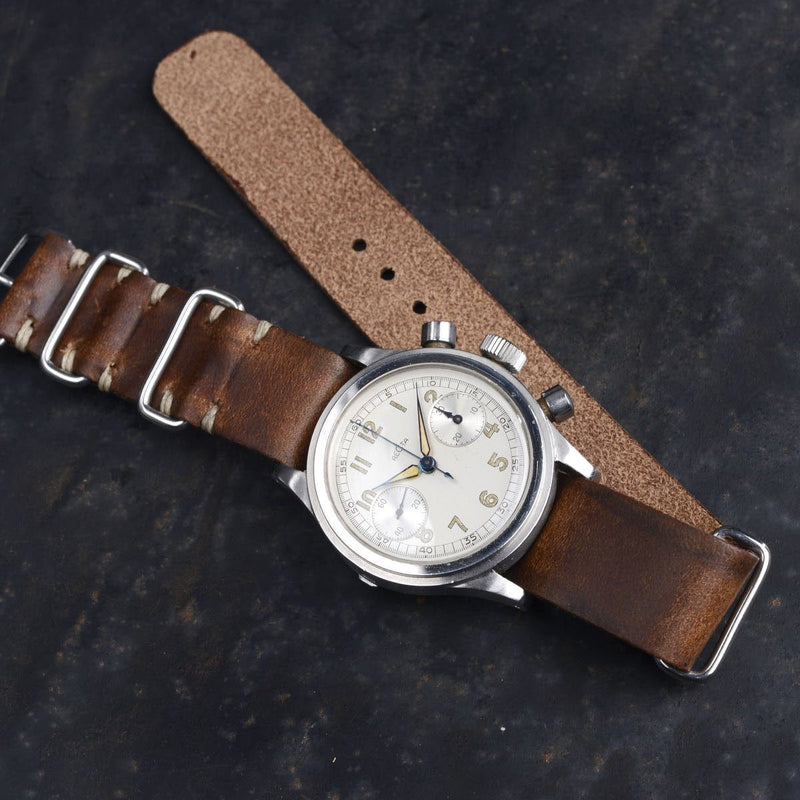 Recta Stepcase Chronograph Siena Brown Nato Leather Watch Strap