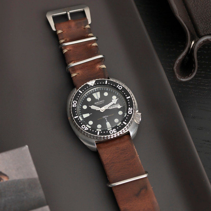 Seiko Siena Brown Nato Leather Watch Strap