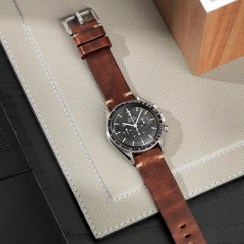 Omega Siena Brown Square Leather Watch Strap