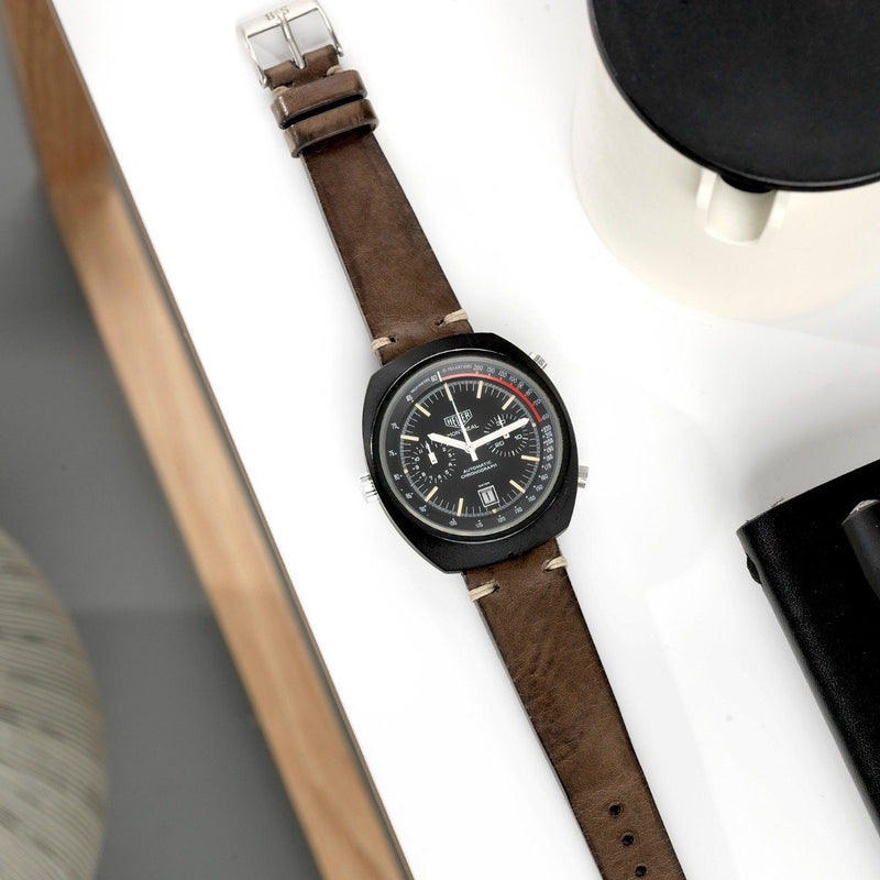 Heuer Smokeyjack Grey Leather Watch Strap